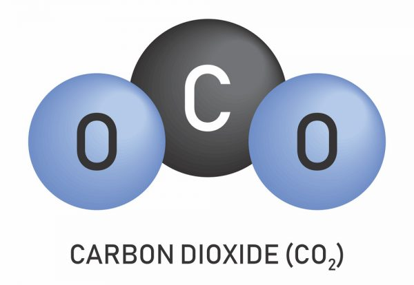 Illustration of Carbon dioxide molecular formula on white background.